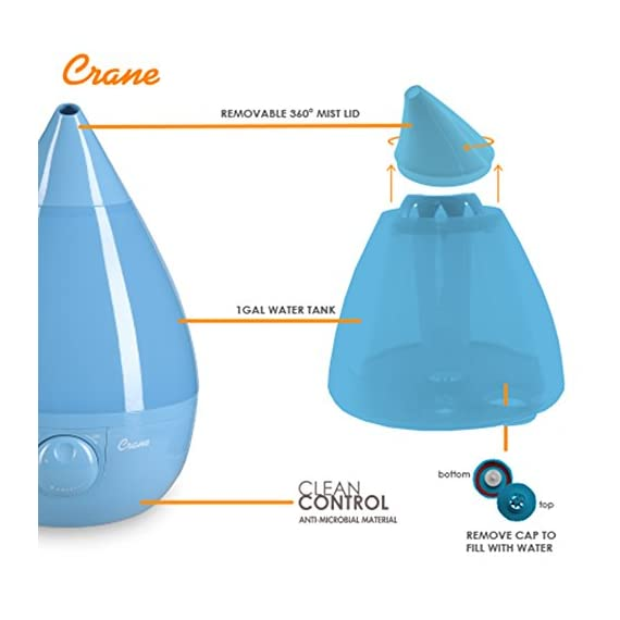 Crane Humidifier, Ultrasonic Cool Mist Humidifiers, Filter-Free, 1 Gallon, for Home Bedroom Baby Nursery and Office 5 1 GALLON TANK: Removable 1 gallon tank fits under most bathroom sinks for easy filling and runs whisper quiet up to 24 hours CLEAN CONTROL: Anti-microbial material reduces mold and bacteria growth by up to 99.96% SOOTHING RELIEF: Ultrasonic Cool Mist effectively humidifies up to 500 square feet for easier breathing and a good night's sleep