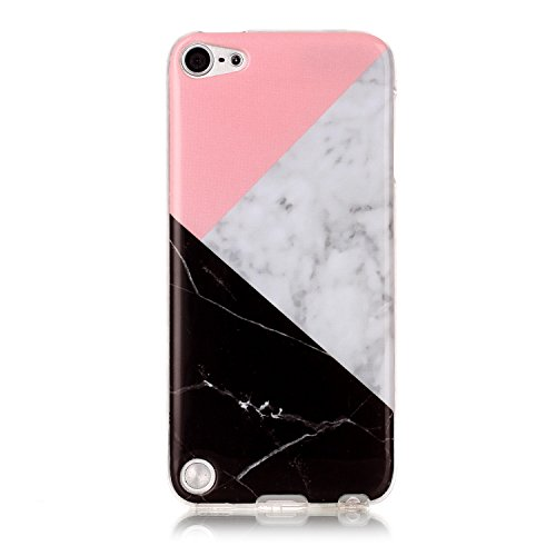 Price comparison product image UCLLiPod Touch 6 Case ,iPod Touch 5 Case , Marble Design Slim Soft TPU Bumper Protective Durable Shockproof Case For Ipod Touch 5/Touch 6 (pink & black)