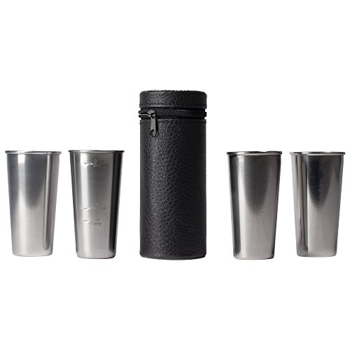 - Maxam Stainless Steel 4-Piece Double-Shot Sized Shot Glass Set with Attractive Embossed Carrying Case