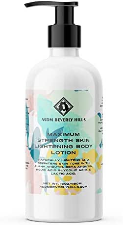 ASDM Beverly Hills Natural Maximum Strength Skin Lightening Body Lotion ~ Anti Aging with Kojic Acid, Alpha Arbutin, Glycolic Acid, and Lactic Acid ~ For All Skin Type ~16 Ounce 480 Milliliter