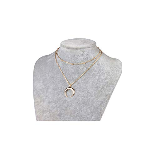 MOCANALA Moon Layered Necklace, Gold Horn Pendant Crescent Moon Pendant Chain Necklace Multilayer Beaded Ball Chain Choker Necklace for Women (Moon Pendant) Crescent Moon Pendant Bead