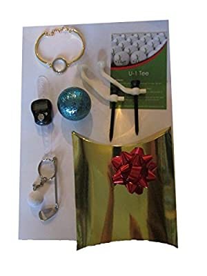 Ladies Golf Christmas Gift Bundle ~Modern Golf Bracelet-Two Revolutionary U-1 Golf Tees- Digital Finger Tally Counter-Golf Keychain-Double Layered Colored Ball
