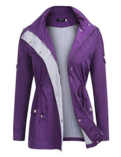 FISOUL Raincoats Waterproof Lightweight Rain Jacket Active Outdoor Hooded Women's Trench Coats Purple