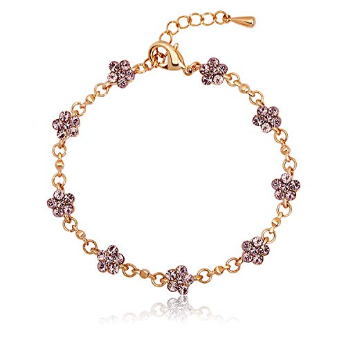 Juliani 18k-Gold-Plated Hypoallergenic Tennis Bracelet - Garnet 2 Carat Austrian Crystals | Jewelry for Women Kids | Girls Teens (Swarovski Austrian Crystal Garnet)