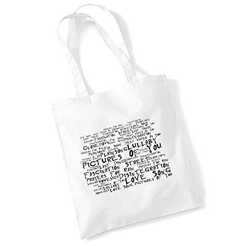 100% Baumwolltasche - THE CURE - Disintegration - Noir Paranoiac - Weiß 42 x 38 cm Tragetasche Musik Song Lyrisch Album Kunstdruck Plakat Wiederverwendbare Tote Strand Festival Einkaufend Tasche für L