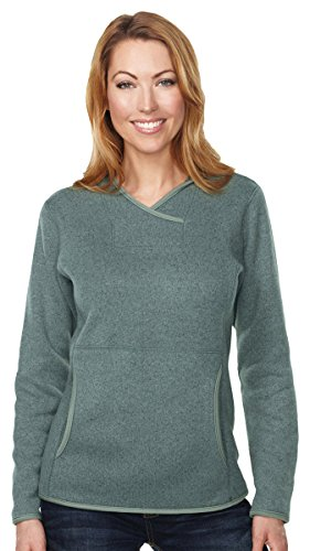 Wholesale Womens Cashmere Sweater (Tri-Mountain FL931 Womens 100% Polyester Hooded Sweater Knit Pullover Fleece - Sage - M)