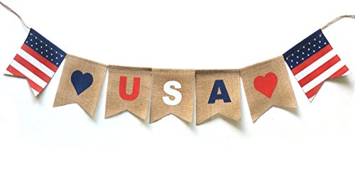 USA Banner Decor for Any US Patriotic Holiday or Theme. Burlap Material.]()