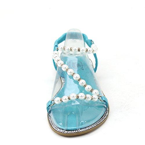 Nouveau Brieten Womens Bungee Mignon Perles Strass Strappy Confort Semelle Sandales Plates Turquoise