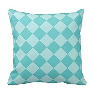 Turquoise Blue Check Gingham Grid Pattern Pillow Case Cover Square Zippered 20X20 Inch Two Sides