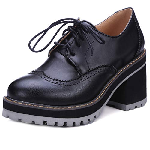 GIY Chunky High Heel Platform Oxfords Shoes for Women Lace-Up Round Toe Wingtip Casual Wedge Dress Pumps Black