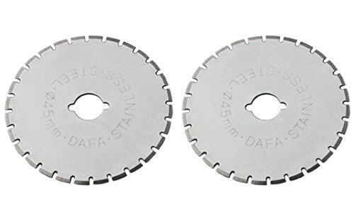 (Dafa 45mm Rotary Cutter / Skip Blades, 2 Perforating Rotary Cutter Blades Per Pack)