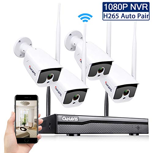 4CH Wireless Security Camera System,CANAVIS 1080P Wireless NVR Video Surveillance System with 4pcs Bullet Cameras Indoor Outdoor,65ft Night Vision,Motion Detection (NO HDD)