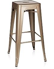 hjh OFFICE 645013 barkruk VANTAGGIO HIGH metaal goud retro kruk in industrieel design, stapelbaar