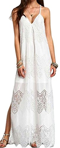 Hollow Womens Lace V Sexy Cromoncent Irregular Spaghetti Dress Strap Neck White tU4qwx