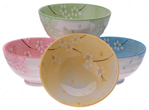 Flower Soup Bowl - Kafuh KN82/HM Japanese Ceramic Rice Soup Bowl Assorted Sakura Flower with Different Colors, 8-Ounce, 4½-Inch