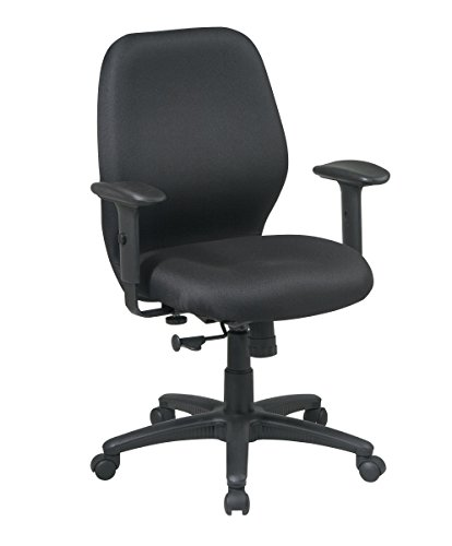 Office Star Thick Padded Contour Seat and Back, 2-to-1 Synchro Tilt, and 2-Way Adjustable Padded Arms Managers Chair, Black ()