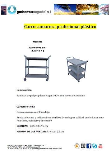 Carro camarera profesional Plástico con 3 bandejas y ruedas de acero y polipropileno. Medidas 102x50x96 (L x F x A): Amazon.es: Industria, ...