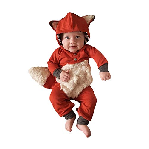 Newborn Baby Girl Boy Halloween Cosplay Cartoon Clothes Fox Coat Fur Bodysuit Jumpsuit Hooded Playsuit Romper Overall Outfit (Orange, 0-6 Months)]()