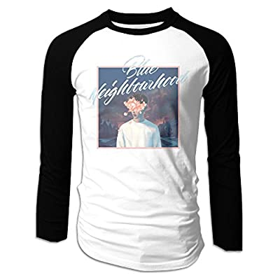 LOVEGIFTTO MEN Mens Blue Neighbourhood Troye Sivan Long Sleeve Comfort Raglan Tee Shirt