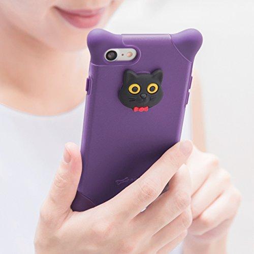 082a790248 BoneCollection Phone Bubble 7/8 スマホケース 猫 ストラップ付き シリコン素材 2層式カバー