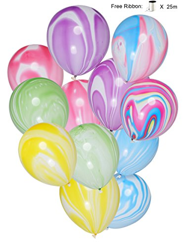 LAttLiv Marble Unicorn Balloons (30 Piece), Multicolour, 12 Inches]()