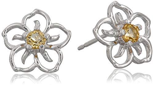 Sterling Silver Genuine Citrine Flower Stud Earrings