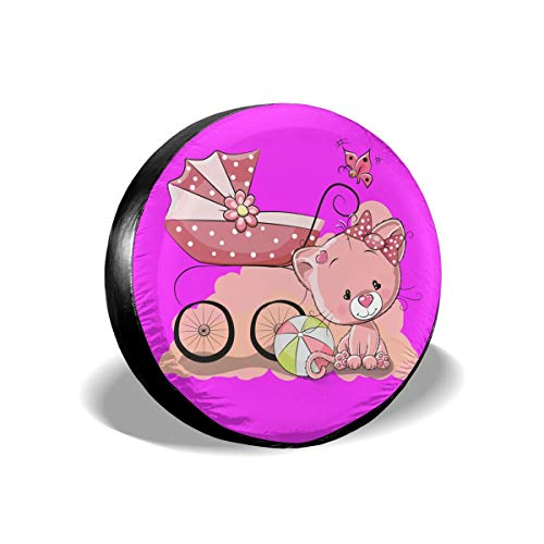 - Pin Cute Girl Ball Stroller Cat Spare Tire Cover Rear Car Decorations Ornament Wheel Accessories Decor Protector 14 15 16 17 Inch for Jeep Trailers RV SUV Trucks Offroad Parts