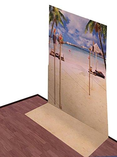 - Summer Party Fun Scenic Backdrop Scene Setter Decor - Parties Beach Theme Tiki Flamingo (Beach Theme Palm Tree Tiki)