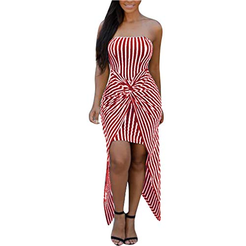 TANLANG Women's Sexy Strapless Dresses Strapless Sleeveless Bodycon Slim Cross Knot Stripe Irregular Printed Split Dress -