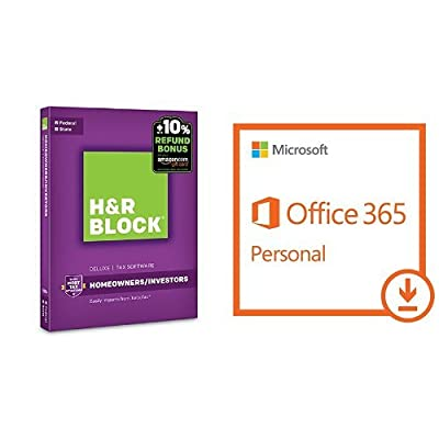 H&R Block Tax Software Deluxe + State 2016 + Refund Bonus Offer with Microsoft Office 365 Personal | 1-year subscription, 1 user PC/Mac [Download]