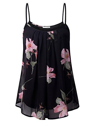 (Messic Women's Summer Sleeveless Chiffon Blouse Cami Top Multicolor Black,M)