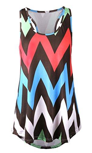 DREAGAL Women's Racer Back Chevron Pattern Print Summer Tank Top Style 1 XX-large