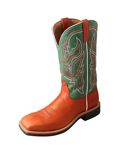 Twisted X Womens Green Leather 11in Cognac Top Hand Cowboy Boots 9B