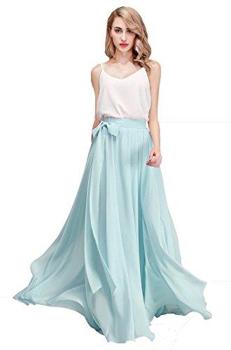 Honey Qiao Women's Chiffon Maxi Skirt Bridesmaid Dresses Long High Waist Floor/Ankle Length Elastic Woman Dresses with Belt Baby Blue