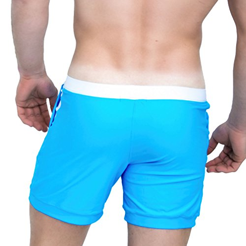 e2259a5fc9f12 Taddlee Men Swimwear Solid Basic Long Swim Boxer Trunks Board Shorts  Swimsuits, Blue, Small