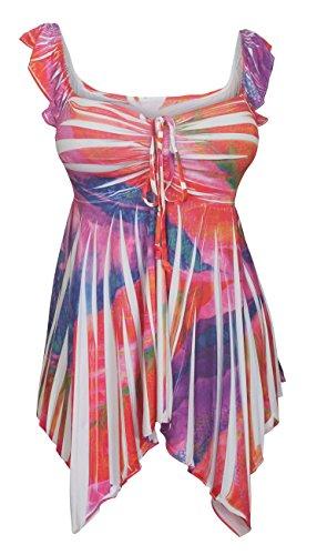 (eVogues Plus Size Deep V-Neck Asymmetric Slimming Sublimation Print Top Pink 0610162-1X)