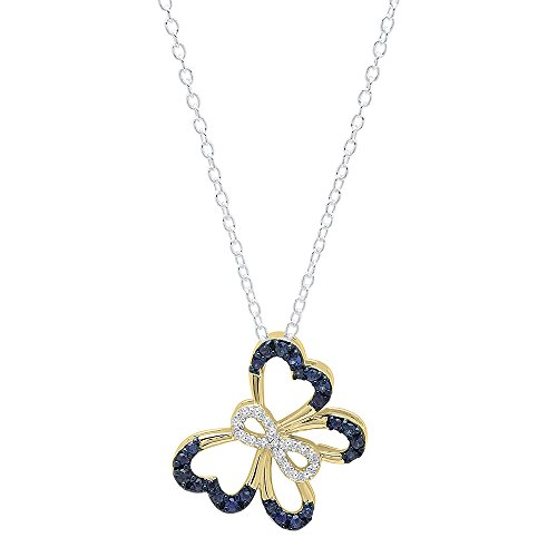 Dazzlingrock Collection 10K Round Blue Sapphire & White Diamond Ladies Infinity Butterfly Pendant, Yellow Gold