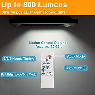 30W LED Solar Flood Lights Outdoor, Dusk to Dawn Solar Powered Street Light with Remote Control, 800 Lumen, IP67 Waterproof, Perfect for Yard, Garden, Garage, Pathway, Barn, Street