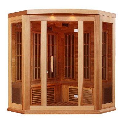 Maxxus 3 Per Low EMF FAR Infrared  Carbon Corner Canadian Red Cedar Sauna ()