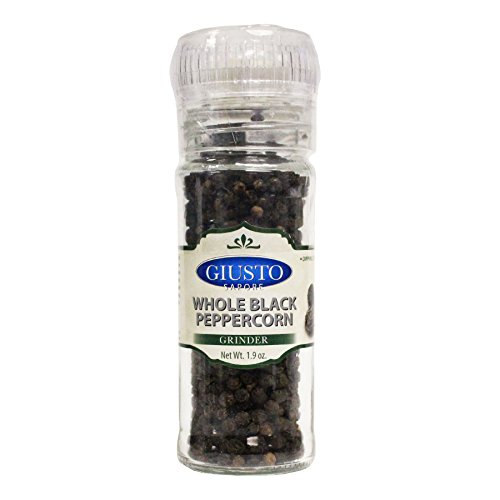 Giusto Sapore Italian Pepper Grinder - Premium Gourmet Brand - Imported from Italy and Family Owned - Whole Black Peppercorn