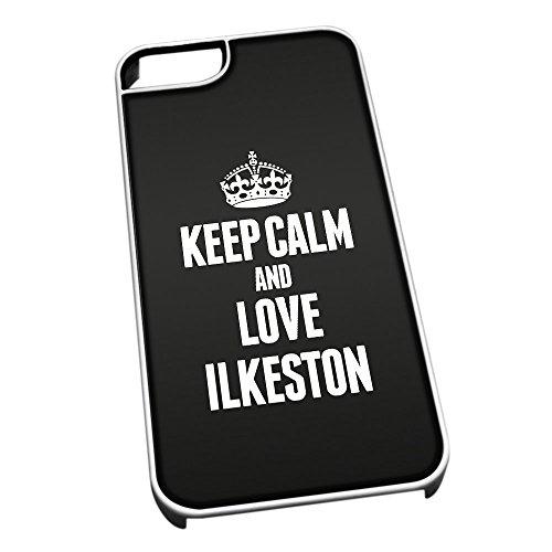 Bianco cover per iPhone 5/5S 0354nero Keep Calm and Love Ilkeston