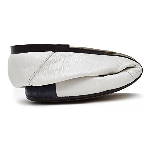 Cocorose Foldable Shoes - Harrow Ladies Leather Ballet Pumps White With Navy BZpQYhMU
