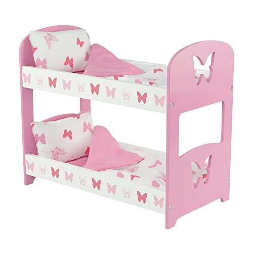 18 Inch Doll Furniture | Lovely Pink and White Double Bunk Bed, Includes Plush Reversible Bedding | Fits 18