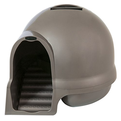 Petmate Booda Dome Cleanstep Cat Box, Brushed Nickel (Large Enclosed Cat Litter Box)