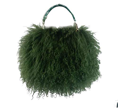 ZAKIA Womens Mongolian Lamb Fur Handbag Goat Clutch Shoulder Bags Purse with Chain (Green) - Little Lamb Green
