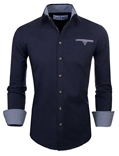 Contrast Lining (Tom's Ware Mens Classic Slim Fit Checkered Contrast Inner Lining Long Sleeve ShirtS TWS8219-NAVY-US M)