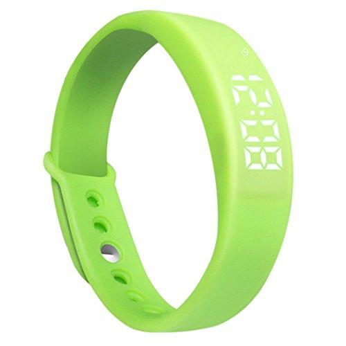 Digital Damen Herren Smart Watch Smart-Armband Fitness-Armband mit 3D-Pedometer Schritt Distanz Thermometer Alarm Sportlich Cool Grün