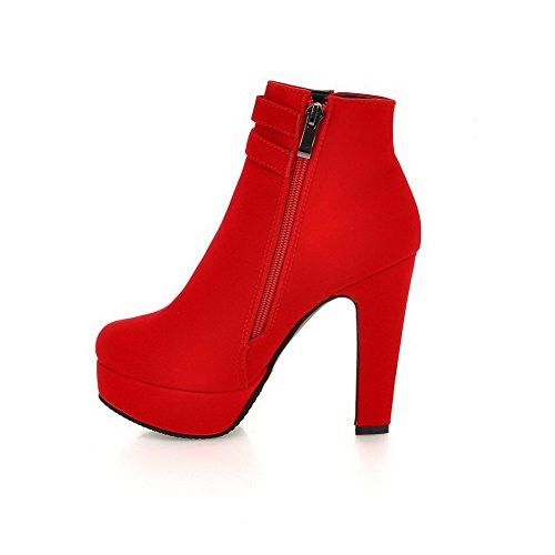 Heel Womens Platform amp;N Metal Imitated Wheeled Shoes Multilayer Red Suede Strap Boots A w40n5XSqx5