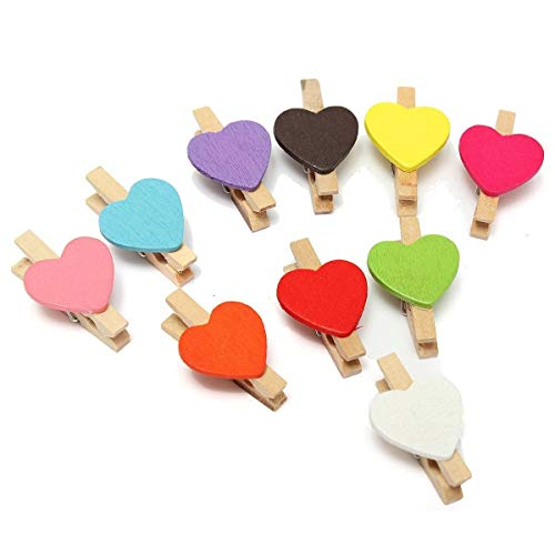 Mini Craft Pegs - Tfbc 10pcs Mini Heart Photo Memo Clips Wooden Pegs Crafts Party Favor Hanging - Craft Party Pegs Favors Drying Racks Nets Mini Paper Making Supplies Clothespin Foam Punc -