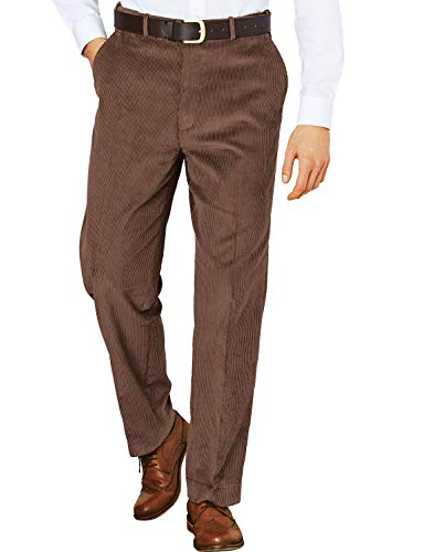 Mens Corduroy Cotton Trouser Pants with Hidden Extra Waistband Brown 32W x 29L